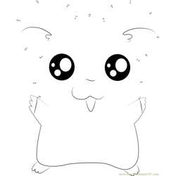 Hamtaro say Hi Dot to Dot Worksheet