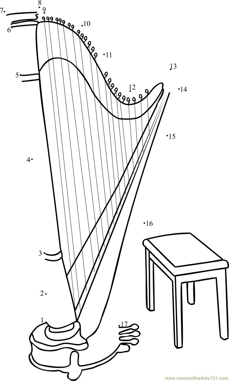 Large Gothic Harp dot to dot printable