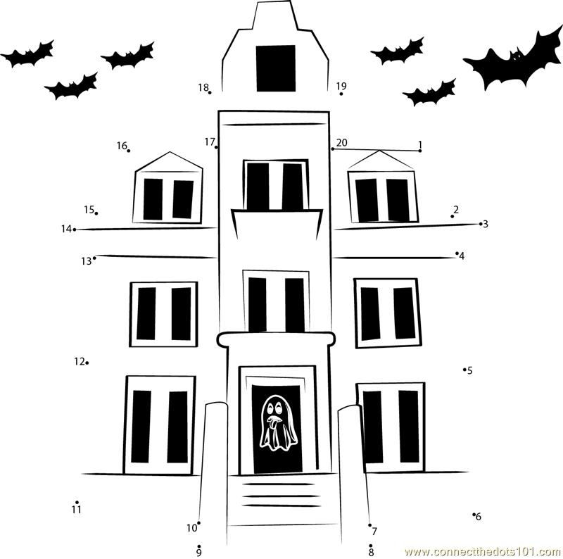 Haunted House Exterior dot to dot printable worksheet ...