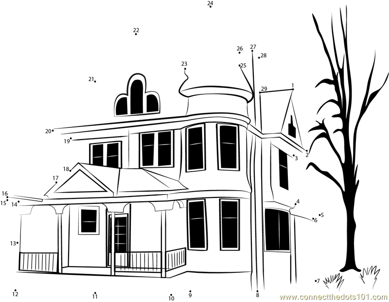 Winchester Mystery House dot to dot printable worksheet ...
