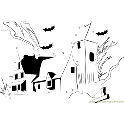 Big Preview Haunted House Dot to Dot Worksheet