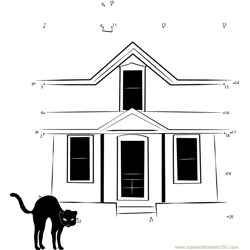Cat in Haunted House Dot to Dot Worksheet