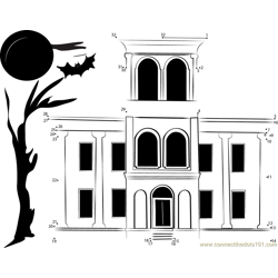 Drish Haunted House Dot to Dot Worksheet