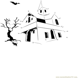 Halloween Night Haunted House Dot to Dot Worksheet