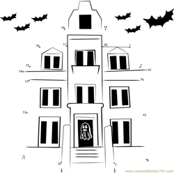Haunted House Exterior Dot to Dot Worksheet