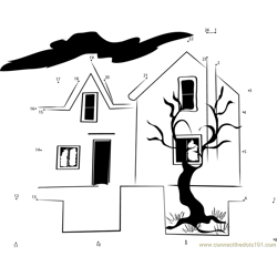 Witch Haunted House Dot to Dot Worksheet