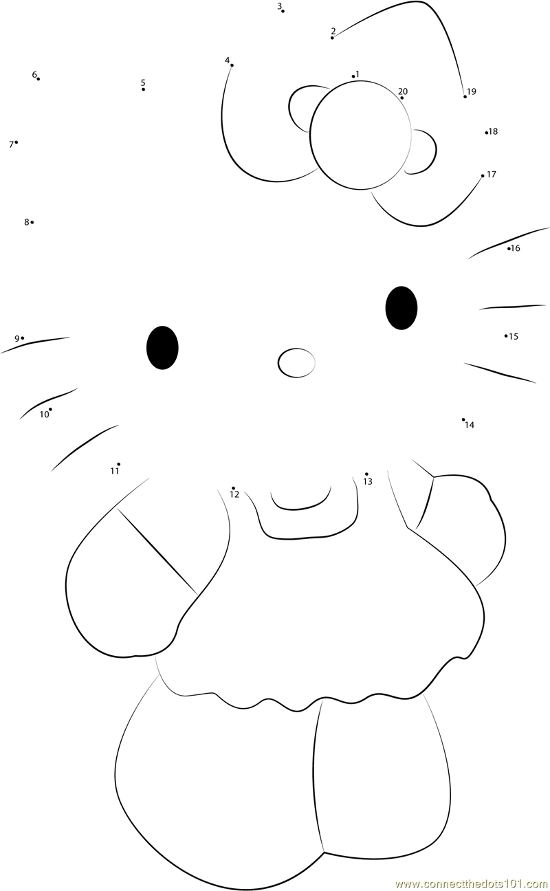 Hello Kitty Dot To Dot Coloring Pages : Cute hello kitty dot to printable worksheet connect