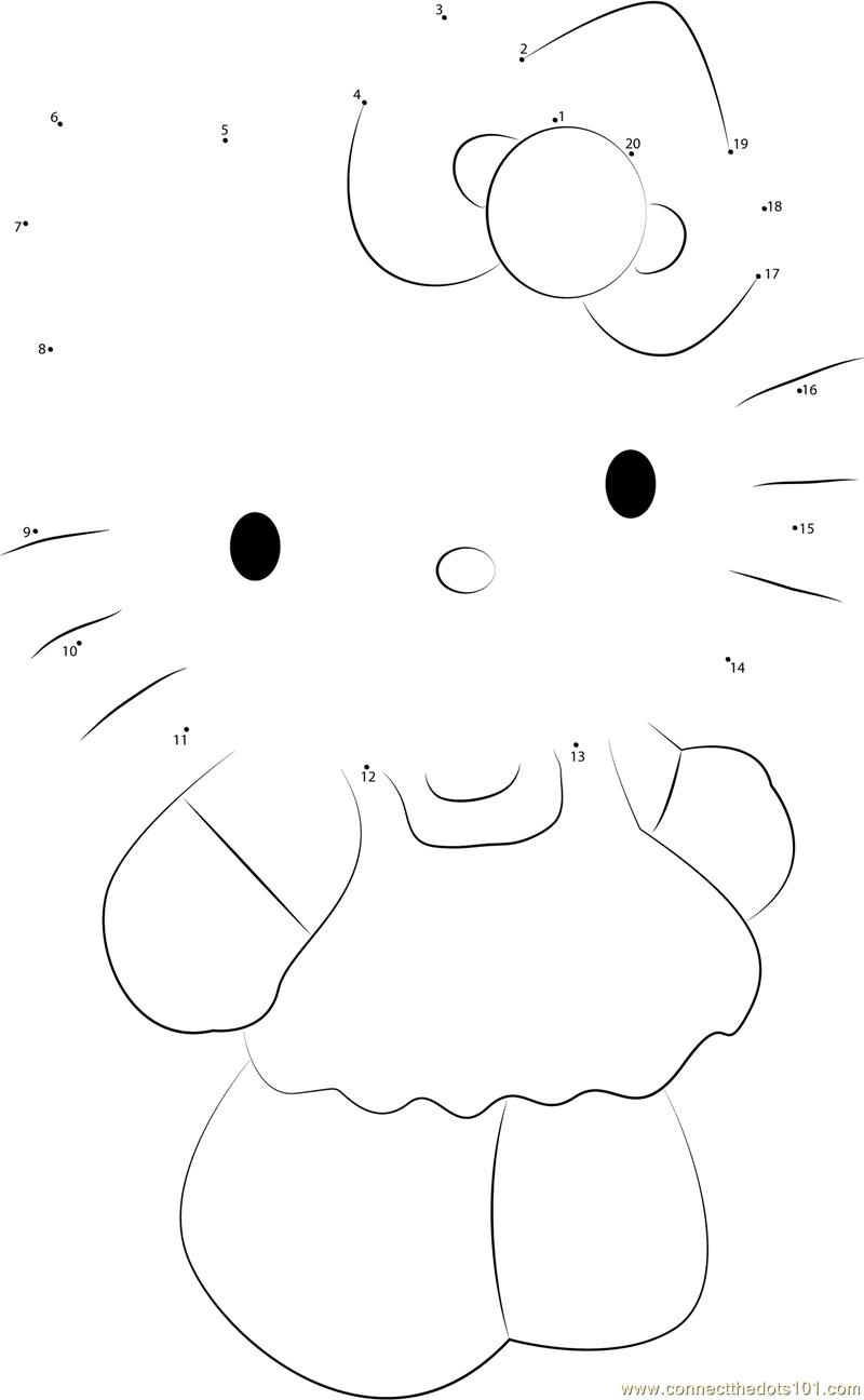 Cute Hello Kitty Dot To Dot Printable Worksheet