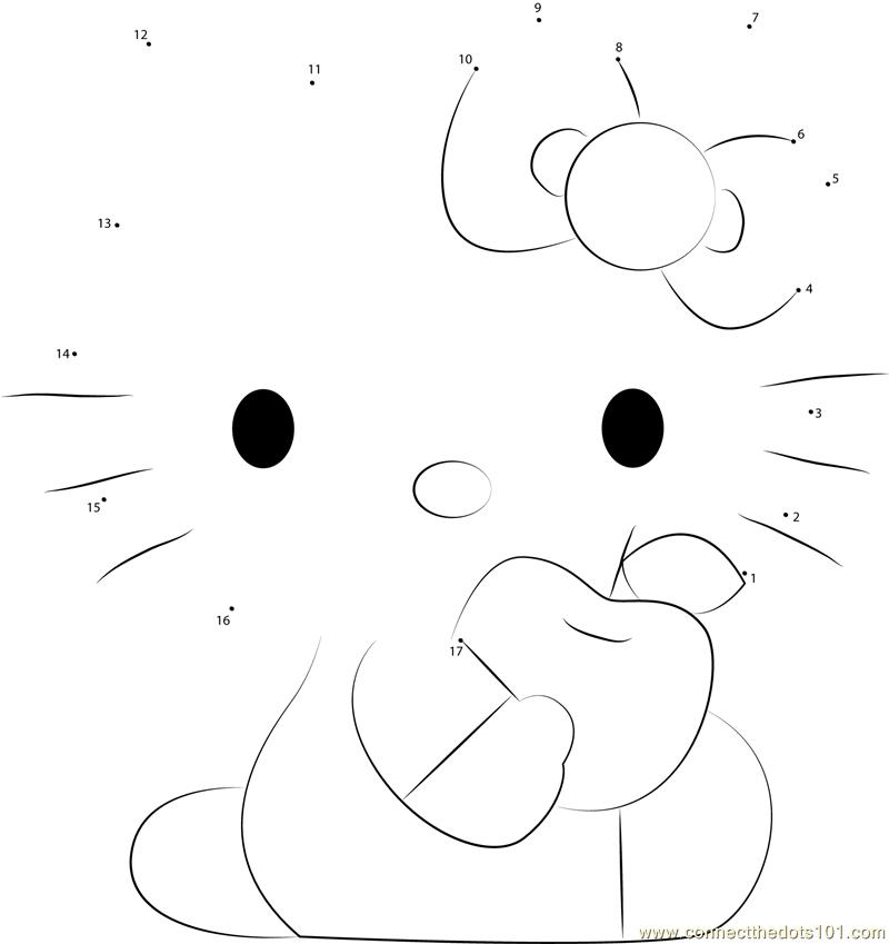 Hello Kitty Eat Apple Dot To Dot Printable Worksheet