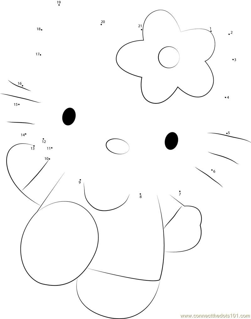 Hello Kitty Pink Dot To Dot Printable Worksheet
