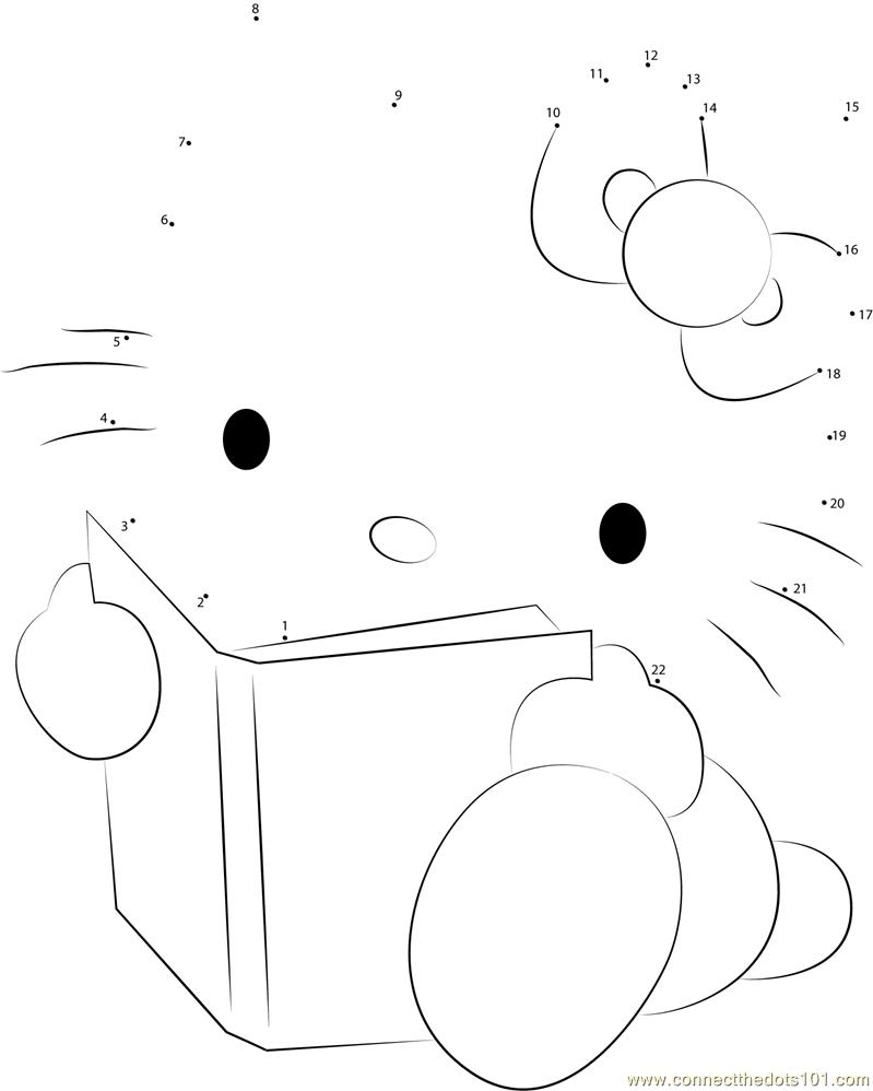 Hello Kitty Reading A Book Dot To Dot Printable Worksheet