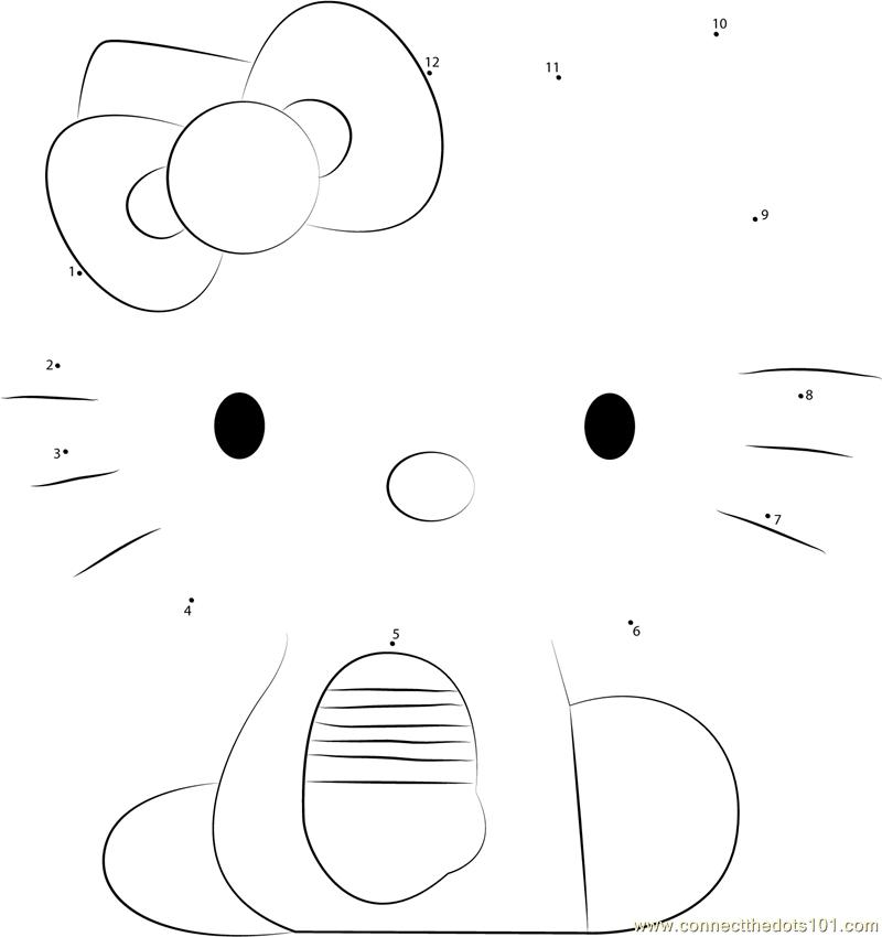 Hello Kitty Sitting Dot To Dot Printable Worksheet