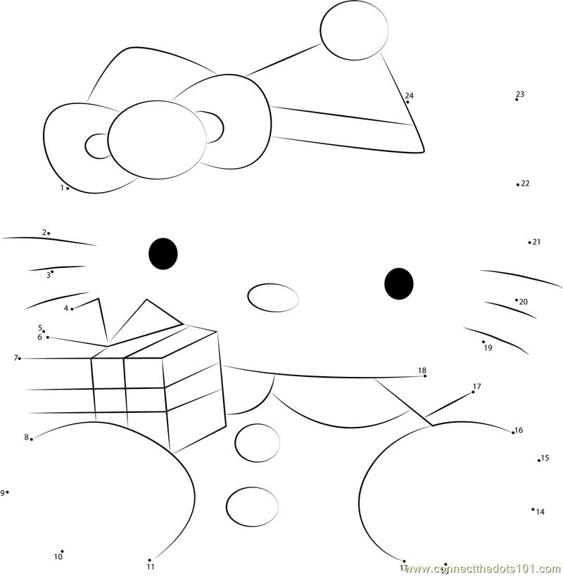 Hello Kitty at Christmas Dot to Dot Printable Worksheet - Connect The ...