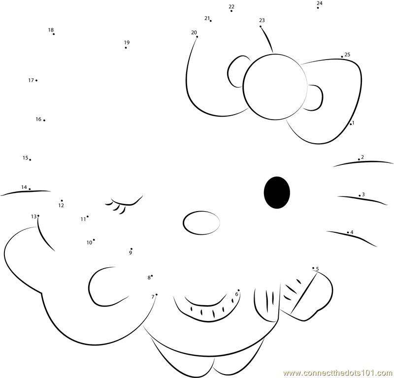 Hello Kitty The Cat Dot To Dot Printable Worksheet