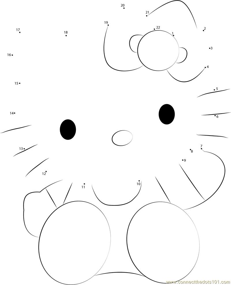 Lovely Hello Kitty Dot To Dot Printable Worksheet