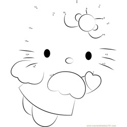 Angel Blue Hearts Hello Kitty Dot to Dot Worksheet