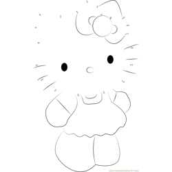 Cute Hello Kitty Dot to Dot Worksheet