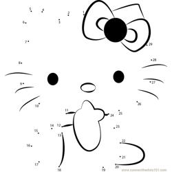 Hello Kitty 1 Dot to Dot Worksheet