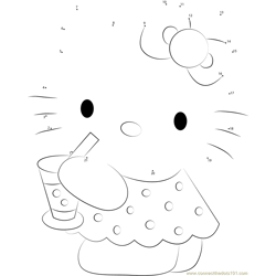Hello Kitty Drinks Juice Dot to Dot Worksheet