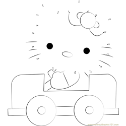 Hello Kitty Driving a Car Dot to Dot Worksheet