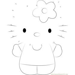 Hello Kitty Miss White Dot to Dot Worksheet