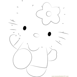 Hello Kitty Pink Dot to Dot Worksheet