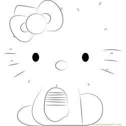 Hello Kitty Sitting Dot to Dot Worksheet