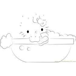 Hello Kitty in Bathtub Dot to Dot Worksheet