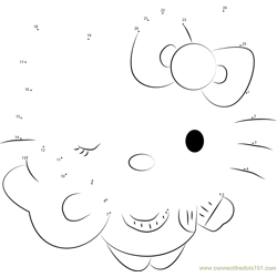 Hello Kitty the Cat Dot to Dot Worksheet