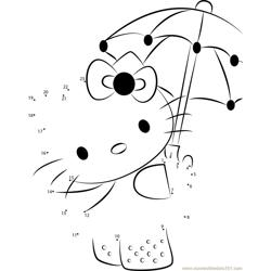 Hello Kitty with Umbrella Dot to Dot Worksheet