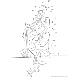 Disney Couples Hercules and Megara Dot to Dot Worksheet