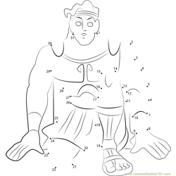 Hercules Ready to War Dot to Dot Worksheet