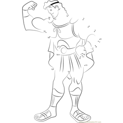 Hercules Showing his Arms Dot to Dot Worksheet