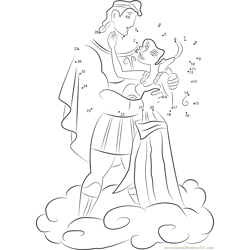 Hercules and Megara are in Love Dot to Dot Worksheet
