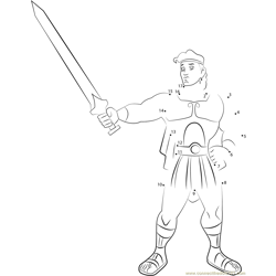 Hercules show his Sword Dot to Dot Worksheet