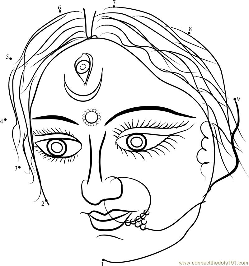 Durga Eyes dot to dot Printable Worksheet ConnectTheDots101.com