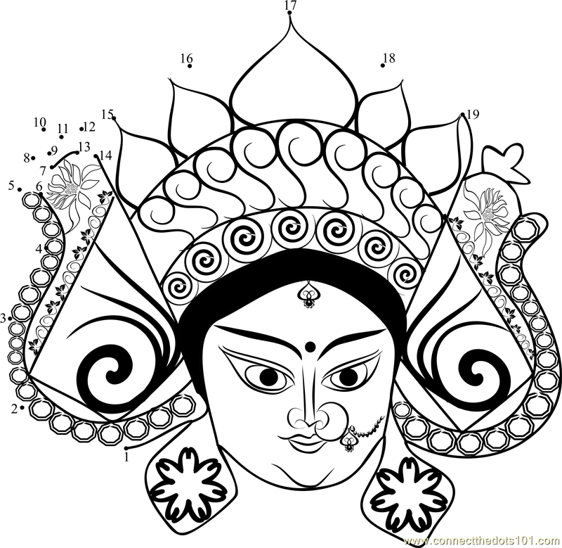 Durga Face dot to dot printable worksheet - Connect The Dots