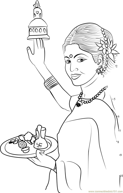 Hindu Puja Aarti Thali dot to dot printable worksheet ...