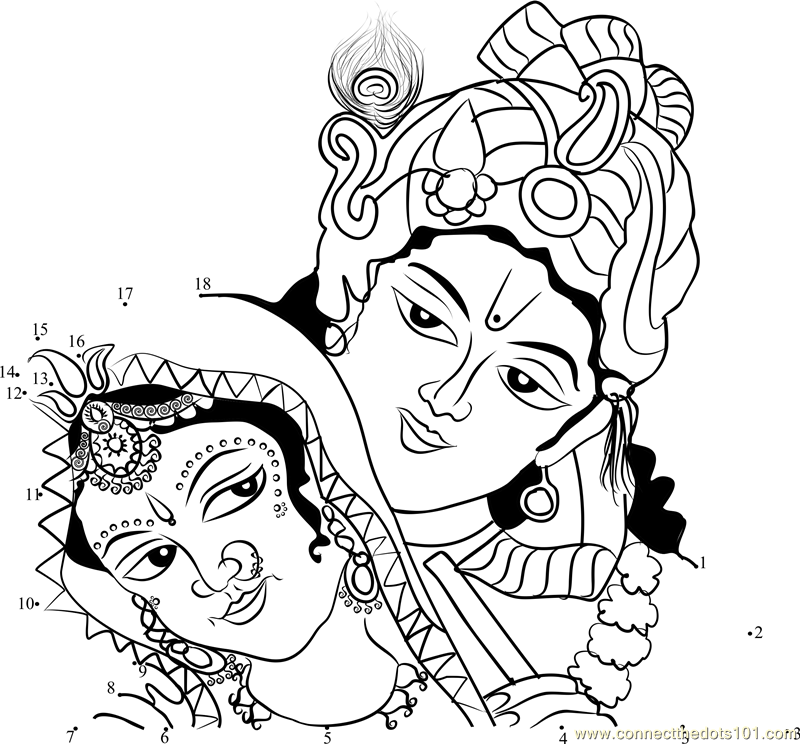 Krishna amp Radha dot to dot printable