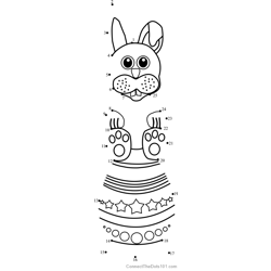 Easter Bunny over Egg Dot to Dot Worksheet