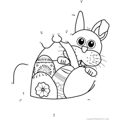 Easter Bunny with Basket Dot to Dot Worksheet