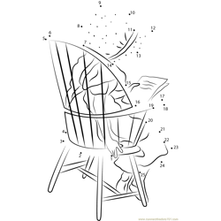 Holly Hobbie Sitting on Chair Dot to Dot Worksheet