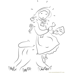 Holly Hobbie Standing near Tree Dot to Dot Worksheet