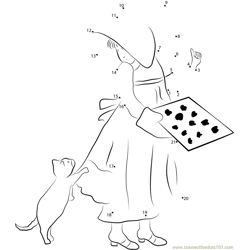 Holly Hobbie with Cat Dot to Dot Worksheet