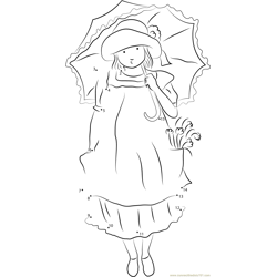 Holly Hobbie with Umbrella Dot to Dot Worksheet