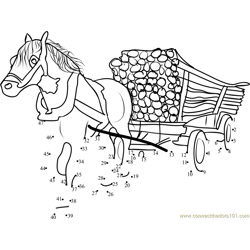 Horse with a cart loaded Woodens Dot to Dot Worksheet