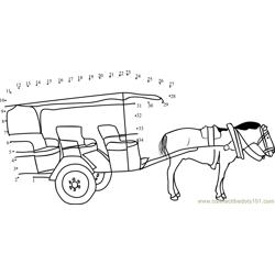 Tourist Horse Cart Dot to Dot Worksheet