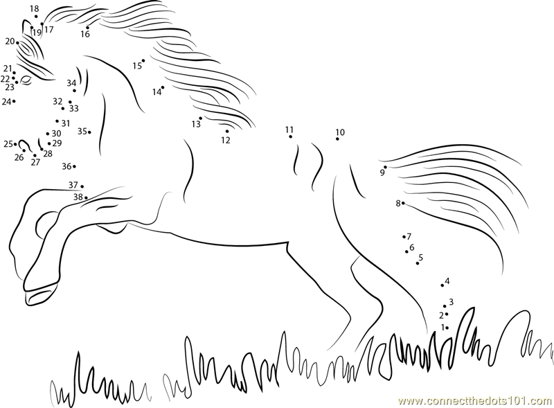picture relating to Horse Worksheets Printable named Black Horse dot in direction of dot printable worksheet - Converse The Dots