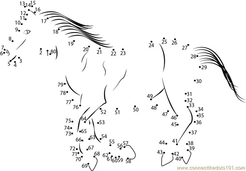 Number Names Worksheets connect the dots worksheets : Horse Connect the Dots Worksheets Printable for Kids