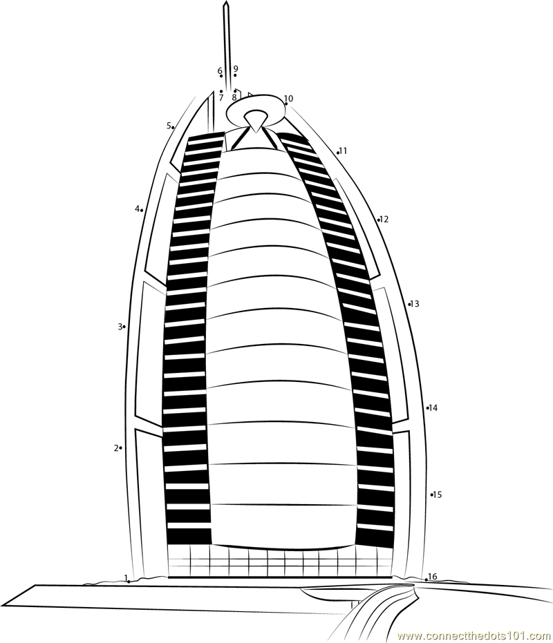 Burj Al Arab Hotel Dot To Dot Printable Worksheet